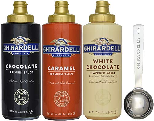 Ghirardelli - 16 oz Chocolate, 17 oz White Chocolate Flavored, 17 oz Caramel Sauce Squeeze Bottle - Set of 3 - with Limited Edition Measuring Spoon ()