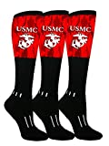 MOXY Sock 3-Pack Knee High Black and Red Semper Fi US Marine Corps Performance Athletic Socks