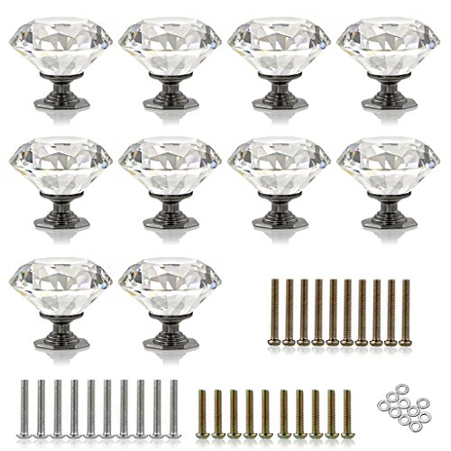 Sumnacon 10 Pcs 1.97 Inch Diamond Shape Clear Crystal Glass Door Knobs - Drawer Knobs Pull Handle/Cabinet Cupboard Knobs with 3 kinds of Screws