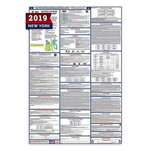 (2019 New York Labor Law Posters (Laminated) All-in-One State and Federal Approved, OSHA Compliant Vertical 27