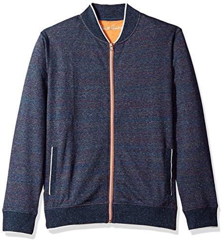 Robert Graham Men's Vagabond Cotton Full Zip Knit, Heather Navy, 3XLARGE by Robert Graham