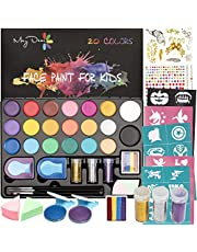 Maydear Face Paint Kit for Kids with 20 Colors Safe and Non-Toxic Pearl Paints, 41 Stencils, 3 Brushes Professional Face Painting Kit