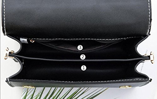 Wild Tide Comfortable Black And Small Bag New Square Meaeo Bag Black Bag Woman Shoulder Simple Casual zxFnwT