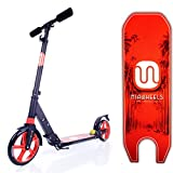 MIAWHEELS Black/Red Adjustable & Foldable + SUSPENSION+ STRAP+REFLECTIVE+ Long REAR BRAKE, Aluminium Kick Scooter