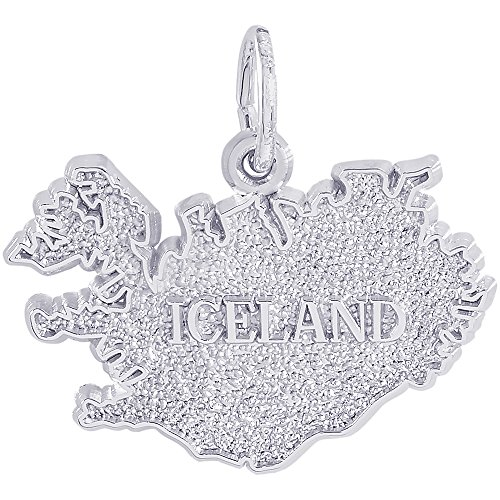 Rembrandt Charms Sterling Silver Iceland Charm On A 16 18 Or 20 Inch Rope Box Or Curb Chain Necklace