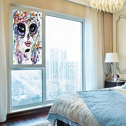 C COABALLA Privacy Window Film,Sugar Skull Decor,for Home Office School,Halloween Girl with Sugar Skull Makeup Watercolor -