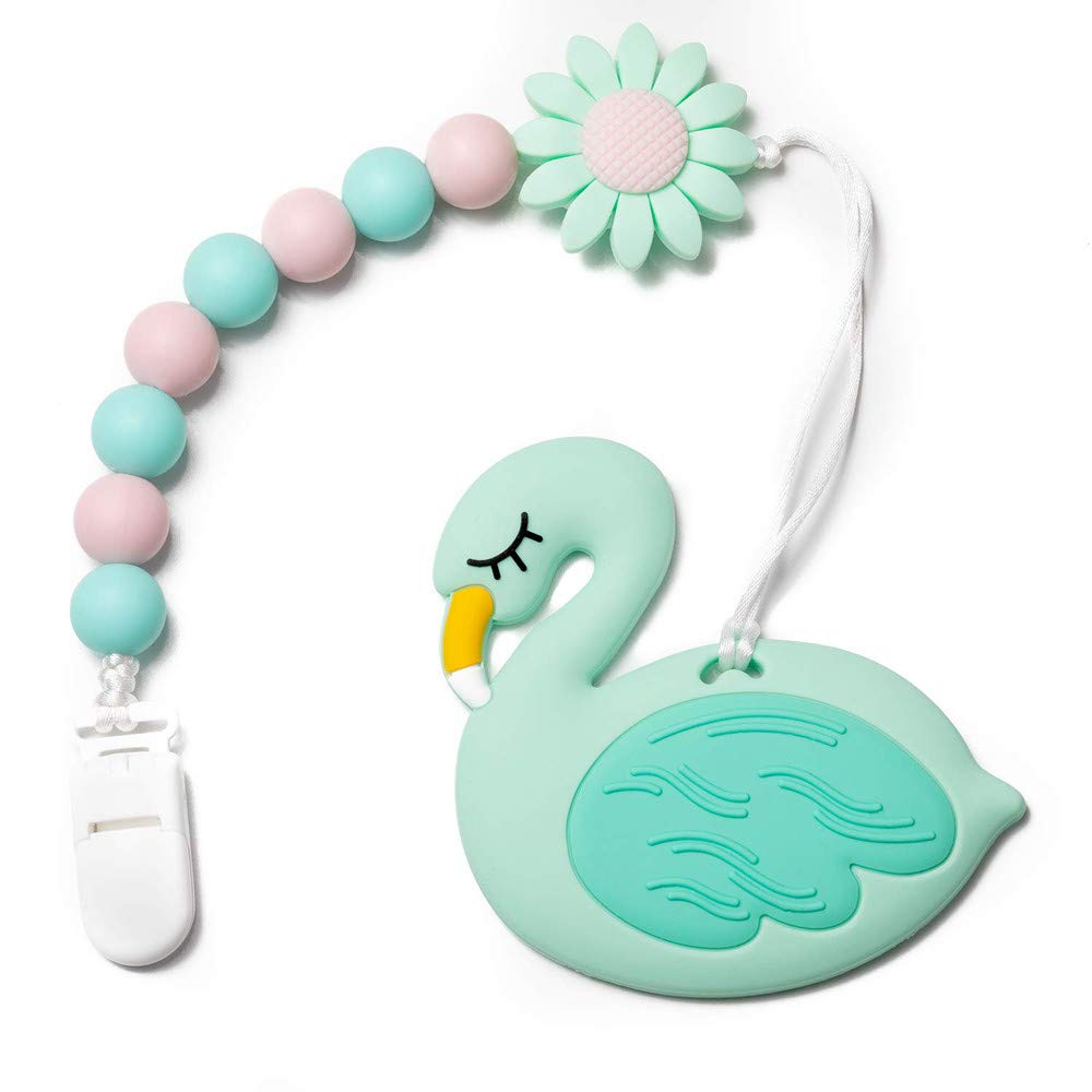 Wooden Natural Chewing Teether Sensory Toy Infant Baby Teething Ring Gift Glitzy