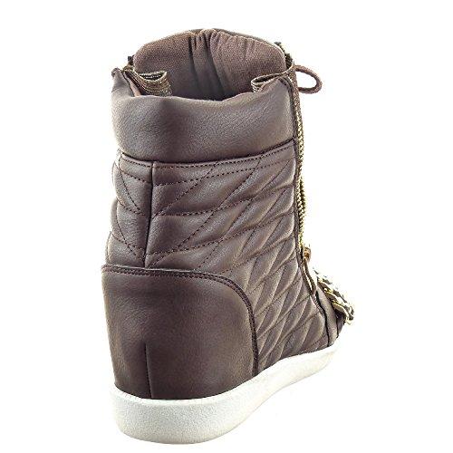 Chaussure Sopily Compensée Textile Cheville Zip Mode Cm Fermeture Chaïnes 8 or Métallique Femmes Compensé Talon Baskets Intérieur Brown Matelassé Montante drtBrq