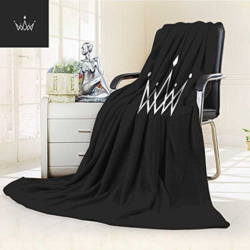 - Luminous Microfiber Throw Blanket crown logo monogram mockup black and white royal symbol with jewels in the inte Glow In The Dark Constellation Blanket, Soft And Durable Polyester(90