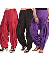 Pistaa Combo of Women Cotton Maroon, Black and Purple Full Patiyala Salwar Pant Bottom