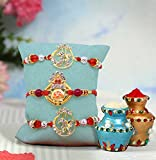 Tied Ribbons Set of 3 Rakhis for Brother Ethnic Rakhis Thread for Brother with Rakshabandhan Special Card
