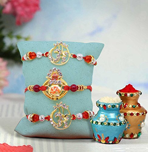 Tied Ribbons Set of 3 Rakhis for Brother Ethnic Rakhis Thread for Brother with Rakshabandhan Special Card by TIED RIBBONS