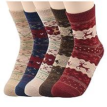 Socks - SODIAL(R) Womens Super Thick Merino Ragg Knit Warm Wool Crew Mid-Calf Winter Socks G Christmas Deer(1)-5 Pack
