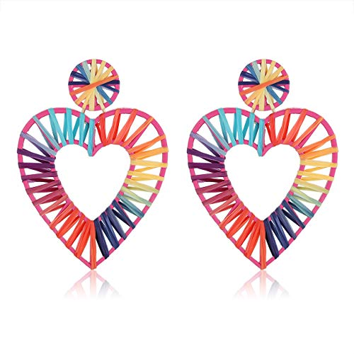 CEALXHENY Raffia Drop Earrings Weave Straw Raffia Hoop Earrings Lightweight Statement Rainbow Dangle Earring for Women Girls (A Heart-Rainbow)]()