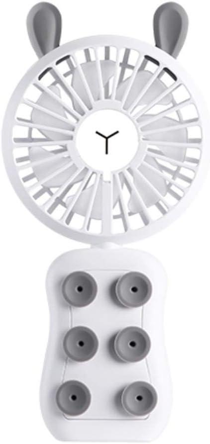 qianqian Mini Ventilador Eléctrico Silencioso Ventilador Portátil de Mano con 7 Cuchillas, 3 Velocidades, Carga USB, Utilizar como Soporte de Teléfono Móvil y luz Nocturna,Whiterabbit