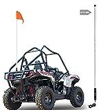 Beatto 6FT(1.8M) White LED Whip Light LED Safety Flag Whips Light LED Antenna Light For Off- Road Vehicle ATV UTV RZR Jeep Trucks Dunes