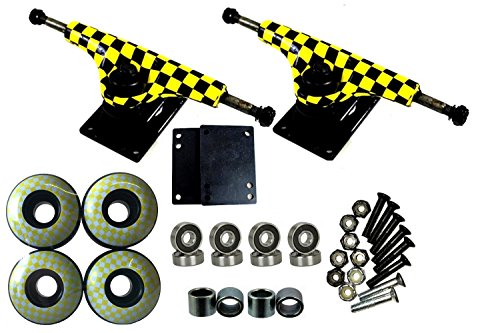 "esKape 5"" Truck/52mm Wheels Complete Skateboard Parts Set (Yellow Checker, 52mm)"