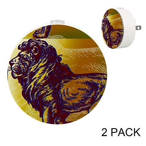 LORVIES Lion Art Painting Plug in LED Night Light Auto Sensor Smart Dusk to Dawn Decorative Night for Bedroom, Bathroom, Kitchen, Hallway, Stairs,Hallway,Baby's Room, Energy Saving, 2 ()
