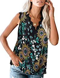 Eddoyee Women Sexy Lace V Neck Tank Tops Casual Printed Sleeveless Cami Blouse Summer