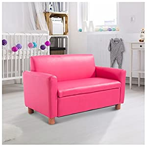 Pink Double Kid Sofa Lounge Couch PU Leather Toddler Recliner Armchair from NA