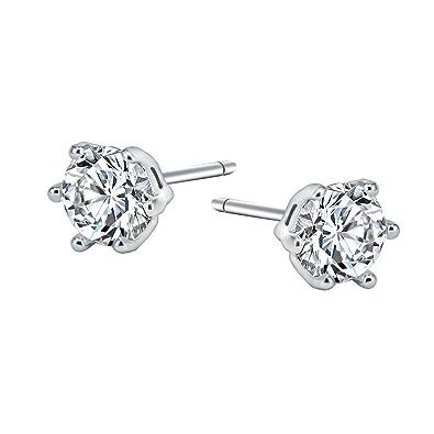 925 Sterling Silver Diamond Cut Cubic Zirconia Stud Earrings 4mm, 5mm, 6mm, Clear Stones or Black Stones