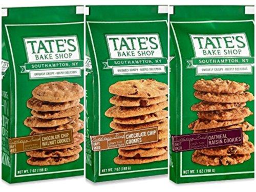 Tate's Bake Shop Chocolate Chip Walnut - 7 oz, Chocolate Chip - 7 oz, Oatmeal Raisin - 7 oz. Cookies
