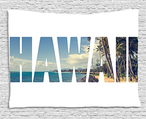 Ambesonne Hawaiian Decorations Collection, Word Hawaii with Tropical Island Photo Exotic Popular Places Palm Forest by Ocean, Bedroom Living Room Dorm Wall Hanging Tapestry, 80 X 60 Inches, Blue (Hawaiian Themed Clothes Ideas)