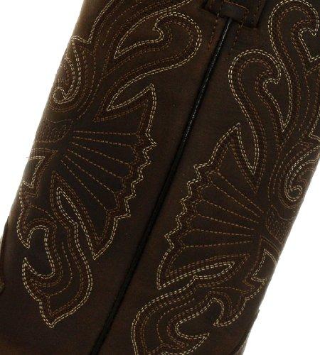 Grinders - Botas de cuero para hombre marrón marrón oscuro