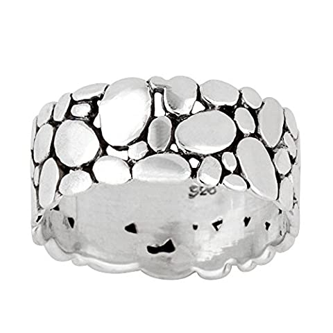 Silverly Women's Men's .925 Sterling Silver Pebble Beach Oval Stone Pattern Band Ring (Pebble Band Ring)