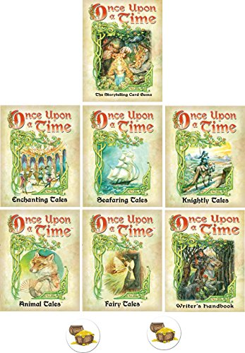 Once Upon A Time Card Game Bundle with Base Game and 6 Expansions Plus 2 Treasure Chest Buttons by Mixed