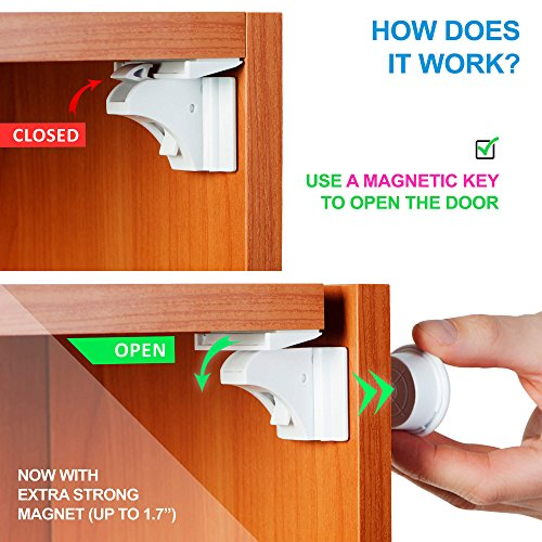 Baby Proof Magnetic Cabinet Locks For Child Safety Blue