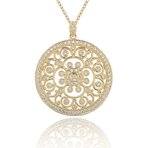 PZ PAZ Creations 14k Gold Over 925 Sterling Silver Cubic Zirconia Pendant Necklace (Gold Over Silver)