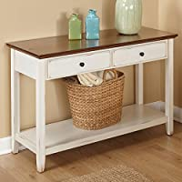 Distressed Off-white Finish with Chestnut Top Sofa Table