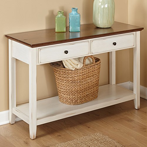 Distressed Finish Sofa Table - Distressed Off-white Finish with Chestnut Top Sofa Table