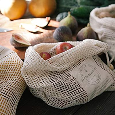 Sandstone & Sage Reusable Produce Bags - Organic Cotton Mesh Biodegradable Zero Waste Grocery Bag - Doubled Stitched Seams with Drawstring and Tare Weights - Small - Medium - Large - Set of 7