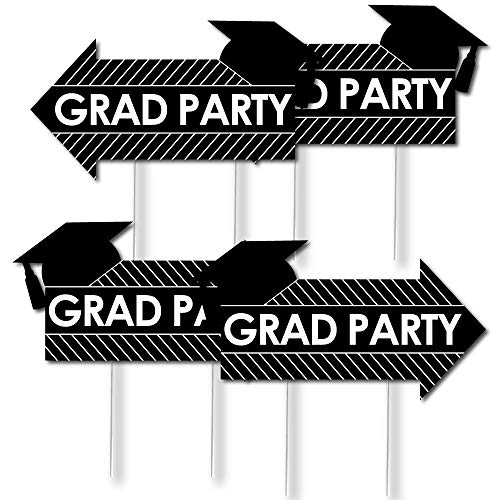 Big Dot of Happiness 4 Grad Party Arrow Signs - Yard Sign Outdoor Lawn Decorations - Double Sided Graduation Party Arrow Yard Signs ()