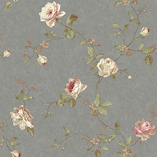 York Wallcoverings SH5511 Vintage Luxe Floral Trail Wallpaper, Pewter, Pink, Cream, Beige, Tan, Green