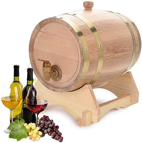 Ejoyous Bierfass aus Holz Whisky Schnaps Wein Eichenfass, Holzfass Weinfass Whiskyfass Eichenholz-Weinfass, Anzug für Whisky Bourbon Tequila (5L)