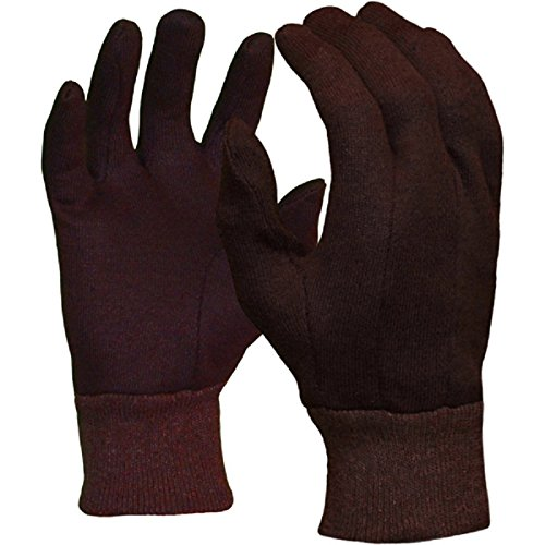 Azusa Safety C47100 Polyester/Cotton Safety Work Gloves, Brown Jersey Gloves, Large
