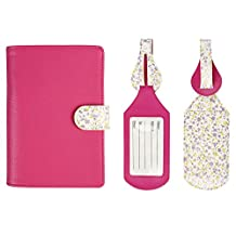JAVOedge Floral Interior RFID Blocking Passport Case with Pen Holder and 2 Matching Luggage Tags