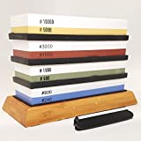 Whetstone Knife Sharpening Stone - Shā-pu is a Premium 4 Stone Sharpening set with 2 Side Grits each of 240/800, 600/1500, 1000/3000 & 5000/10000 | Includes, Non Slip Bamboo Base and Angle Guide