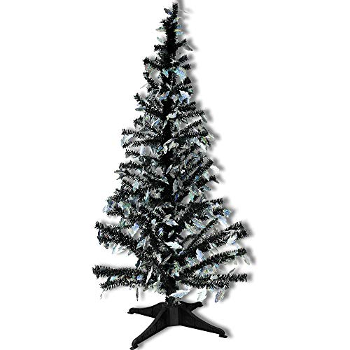 YuQi 5 Ft Pop UP Artificial Tinsel Trees Collapsible with Stand, Reusable for Halloween,Party,Next New Year,Wedding, Seasonal Home Décor & Party (Ghost) ()