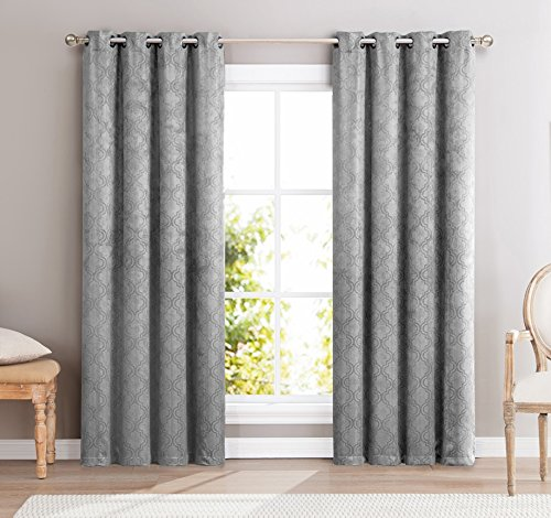 HLC.ME Redmont Lattice Wide-Width Thermal Blackout Grommet Curtain Panel - 96