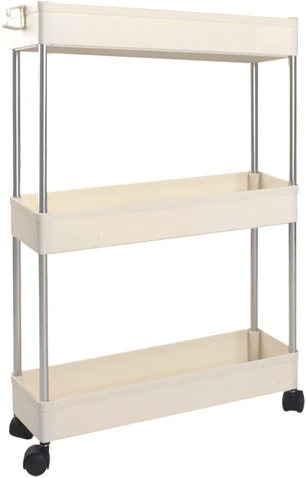 Thin Rolling Utility Cart Slide Out Skinny Storage Organizer Tower for Kitchen Bathroom Laundry Room Narrow Mobile Shelving Unit with Handle Ronlap 3 Tier Slim Storage Cart White