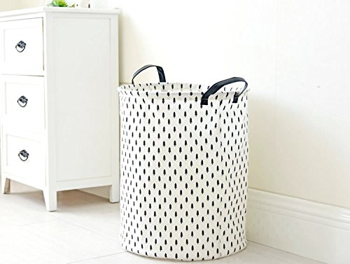 Fashion Zakka Cotton Linen Fabric Storage Box New Home Decor Water Proof Organization Barrel Collapsible Open Laundry Dirty Clothes Hamper (Black Trees)