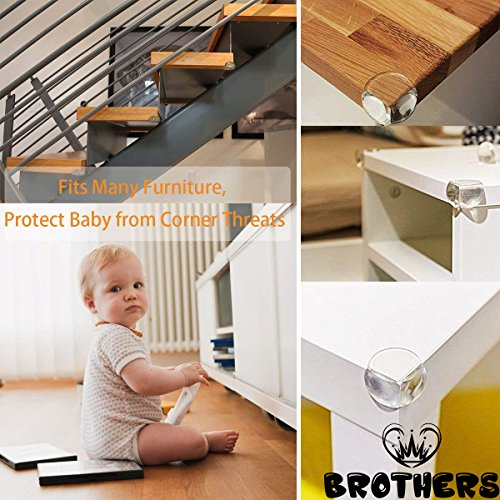 Corner Protector - Keep Babies from Sharp Edge of Table, Furniture and Desk - Best Baby Safety Corner Guards from Injuries - High Resistant Adhesive (20 Pack) by BROTHERS (Image #3)