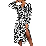 Women Leopard Print Split Dress,Mosunx Ladies Casual Long Sleeve Lace Up V-Neck Dresses (S, White)