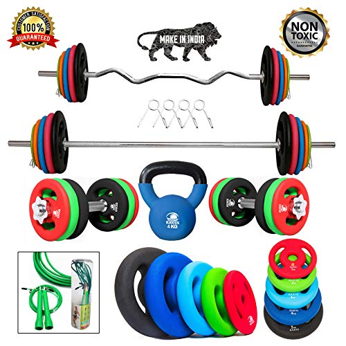 Kakss Best Home Gym Training (10 Kg to 200 Kg) Home Gym Set With Exclusive Made Of 100 % Top-Quality Cast Iron With Neoprene Coated Weight Plates with 3 ft Curl (25MM) + 5 ft Plain Rod (25MM) (PROUDLY MADE IN INDIA) Price & Reviews