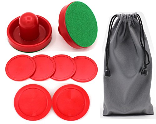 Qtimal Home Standard Air Hockey Paddles and 2 Size Pucks, Small Size for Kids, Large Size for Adult, Great Goal Handles Pushers Replacement Accessories for Game Tables (2 Striker, 6 Puck Pack) (Air Hockey Table Glow In The Dark)