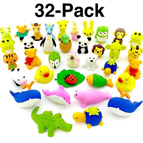 OHill Pack of 32 Pencil Erasers Zoo Animal Erasers Puzzle Erasers for Party Favors, Games Prizes, Carnivals and School - Eraser Box